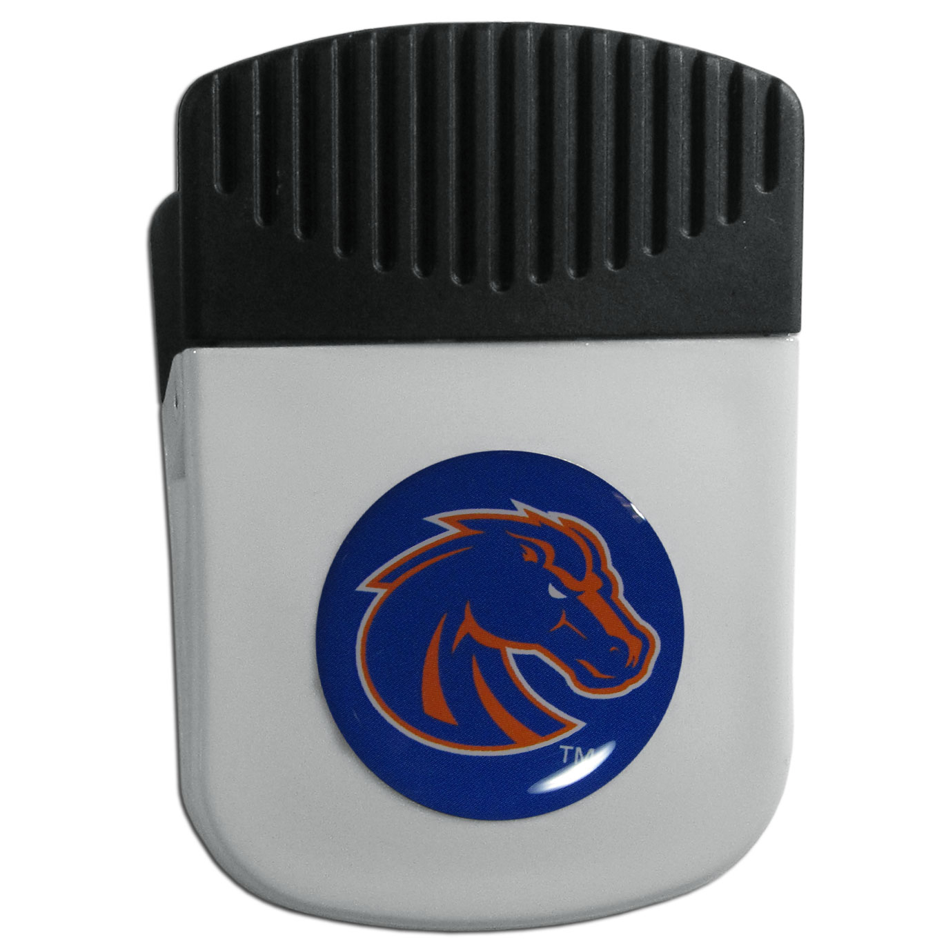 Boise St. Broncos Chip Clip Magnet - Use this attractive clip magnet to hold memos, photos or appointment cards on the fridge or take it down keep use it to clip bags shut. The magnet features a domed Boise St. Broncos logo.