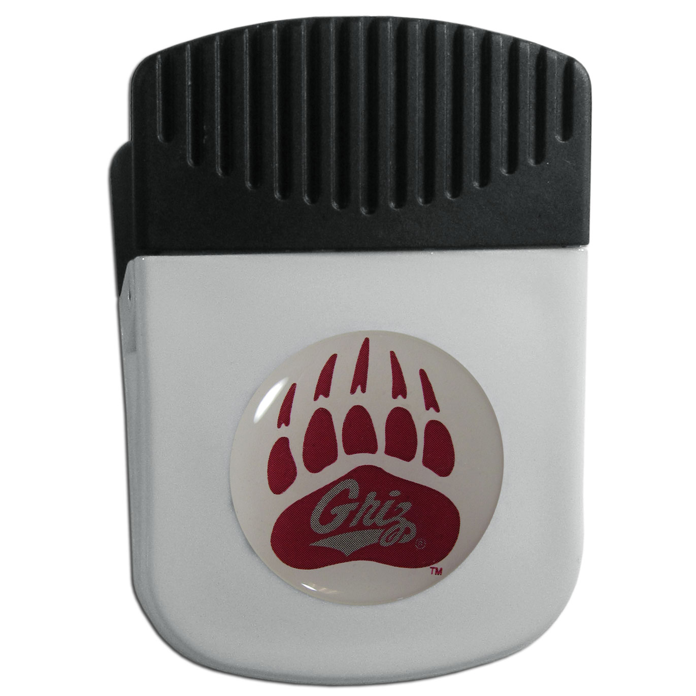 Montana Grizzlies Chip Clip Magnet - Use this attractive clip magnet to hold memos, photos or appointment cards on the fridge or take it down keep use it to clip bags shut. The magnet features a domed Montana Grizzlies logo.