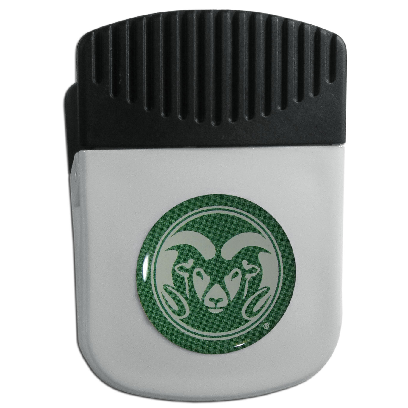 Colorado St. Rams Chip Clip Magnet - Use this attractive clip magnet to hold memos, photos or appointment cards on the fridge or take it down keep use it to clip bags shut. The magnet features a domed Colorado St. Rams logo.