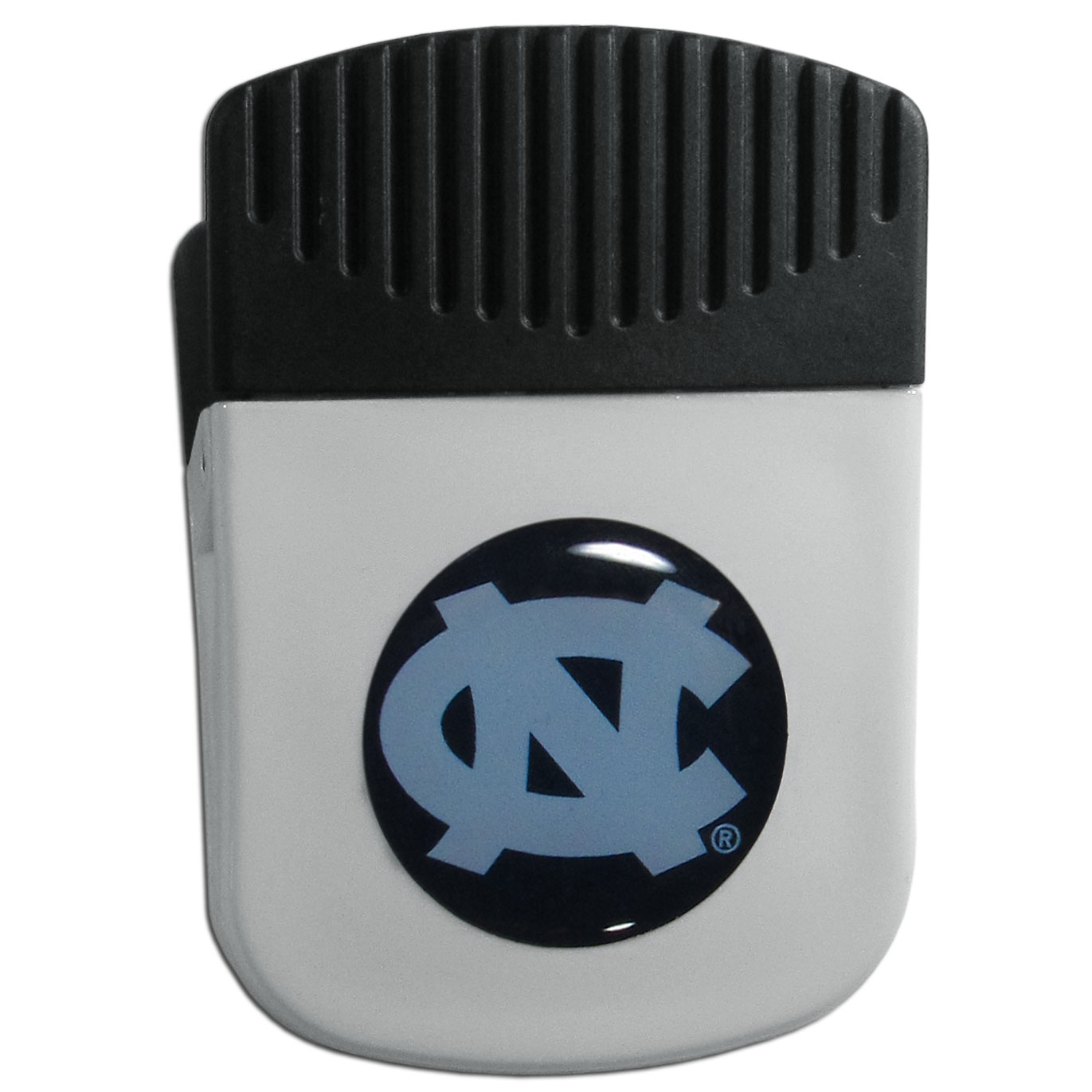 N. Carolina Tar Heels Chip Clip Magnet - Use this attractive clip magnet to hold memos, photos or appointment cards on the fridge or take it down keep use it to clip bags shut. The magnet features a domed N. Carolina Tar Heels logo.