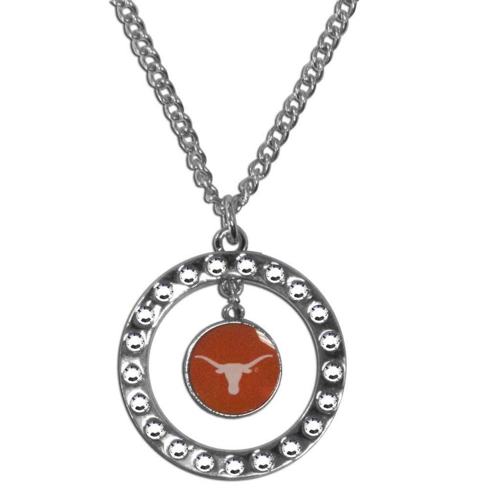 Texas Longhorns Rhinestone Hoop Necklace - Our Texas Longhorns rhinestone hoop necklace comes on an 18 inch chain and features a hoop covered in rhinestones with a high polish chrome finish and a team logo dangling in the center.