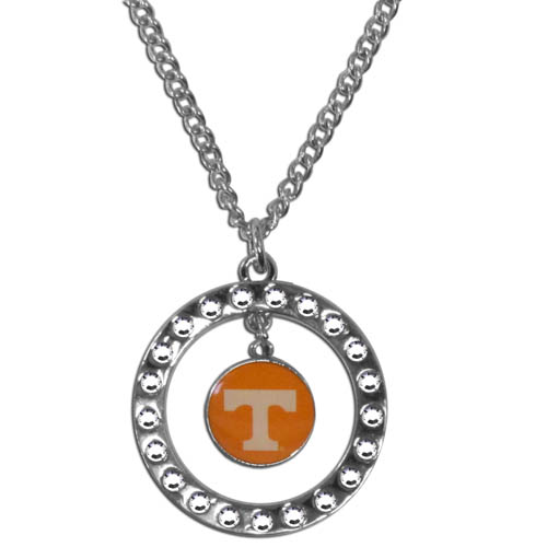 "Tennessee Rhinestone Hoop Necklace - ""Our college rhinestone hoop necklace comes on an 18"""" chain and features a hoop covered in rhinestones with a high polish chrome finish and a Tennessee Volunteers logo dangling in the center."" Thank you for shopping with CrazedOutSports.com"