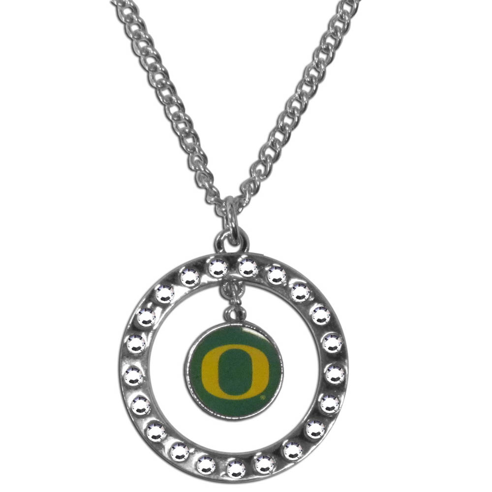 Oregon Ducks Rhinestone Hoop Necklace - Our Oregon Ducks rhinestone hoop necklace comes on an 18 inch chain and features a hoop covered in rhinestones with a high polish chrome finish and a team logo dangling in the center.