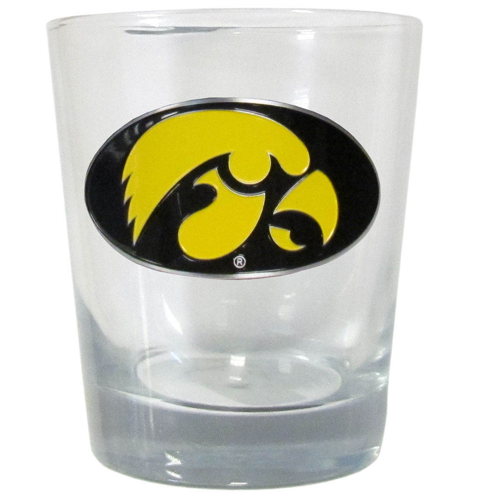 Iowa Rocks Glass - Our Iowa Hawkeyes rocks glass glass features a metal school emblem with vibrant enameled finish.
