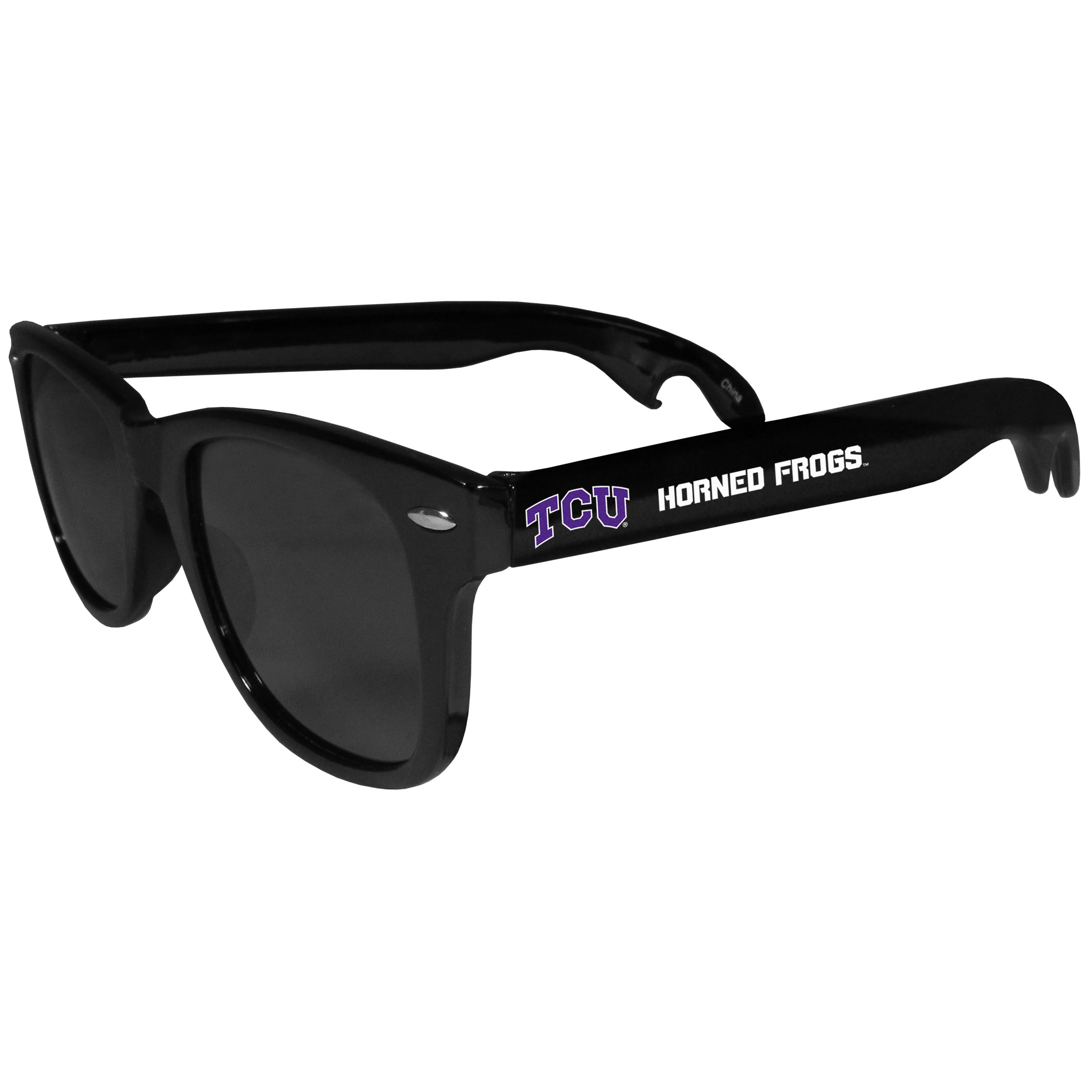 TCU Horned Frogs Beachfarer Bottle Opener Sunglasses - Seriously, these sunglasses open bottles! Keep the party going with these amazing TCU Horned Frogs bottle opener sunglasses. The stylish retro frames feature team designs on the arms and functional bottle openers on the end of the arms. Whether you are at the beach or having a backyard BBQ on game day, these shades will keep your eyes protected with 100% UVA/UVB protection and keep you hydrated with the handy bottle opener arms.