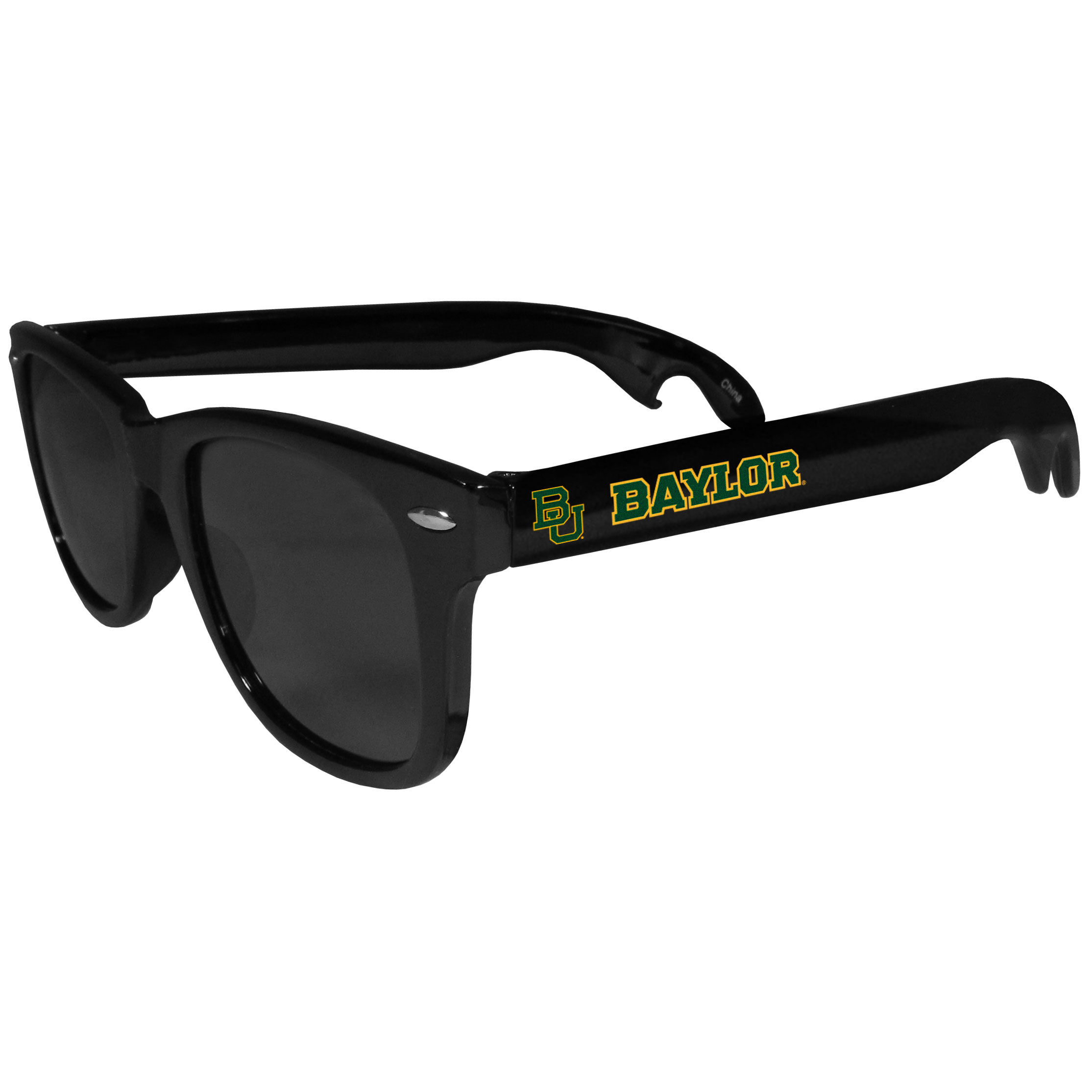 Baylor Bears Beachfarer Bottle Opener Sunglasses - Seriously, these sunglasses open bottles! Keep the party going with these amazing Baylor Bears bottle opener sunglasses. The stylish retro frames feature team designs on the arms and functional bottle openers on the end of the arms. Whether you are at the beach or having a backyard BBQ on game day, these shades will keep your eyes protected with 100% UVA/UVB protection and keep you hydrated with the handy bottle opener arms.