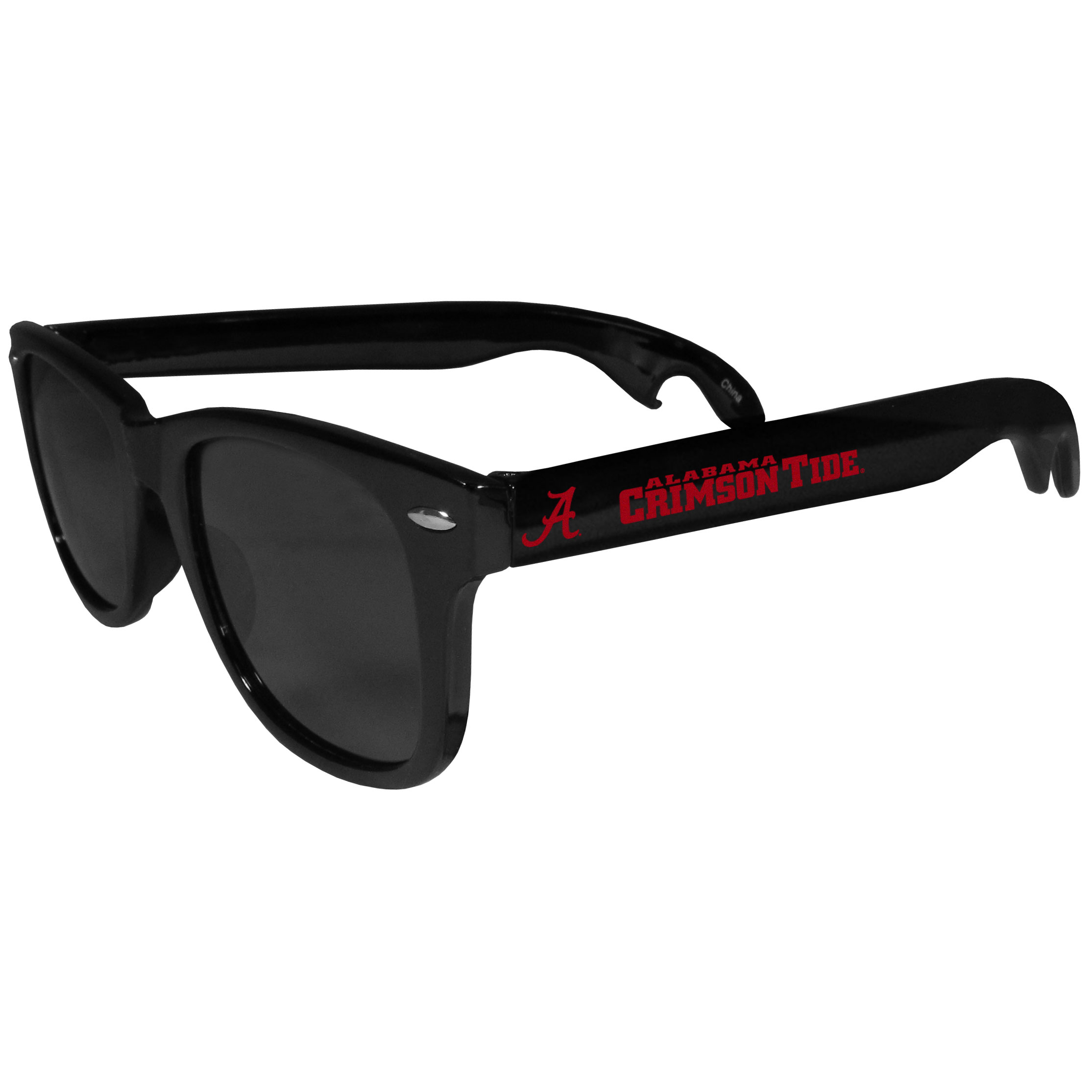 Alabama Crimson Tide Beachfarer Bottle Opener Sunglasses - Seriously, these sunglasses open bottles! Keep the party going with these amazing Alabama Crimson Tide bottle opener sunglasses. The stylish retro frames feature team designs on the arms and functional bottle openers on the end of the arms. Whether you are at the beach or having a backyard BBQ on game day, these shades will keep your eyes protected with 100% UVA/UVB protection and keep you hydrated with the handy bottle opener arms.