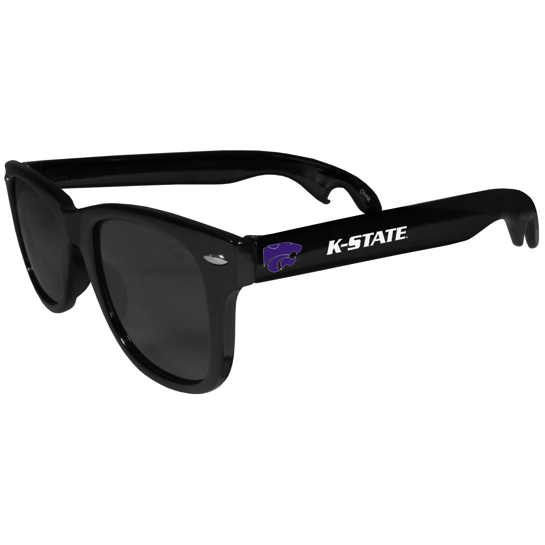 Kansas St. Wildcats Beachfarer Bottle Opener Sunglasses - Seriously, these sunglasses open bottles! Keep the party going with these amazing Kansas St. Wildcats bottle opener sunglasses. The stylish retro frames feature team designs on the arms and functional bottle openers on the end of the arms. Whether you are at the beach or having a backyard BBQ on game day, these shades will keep your eyes protected with 100% UVA/UVB protection and keep you hydrated with the handy bottle opener arms.