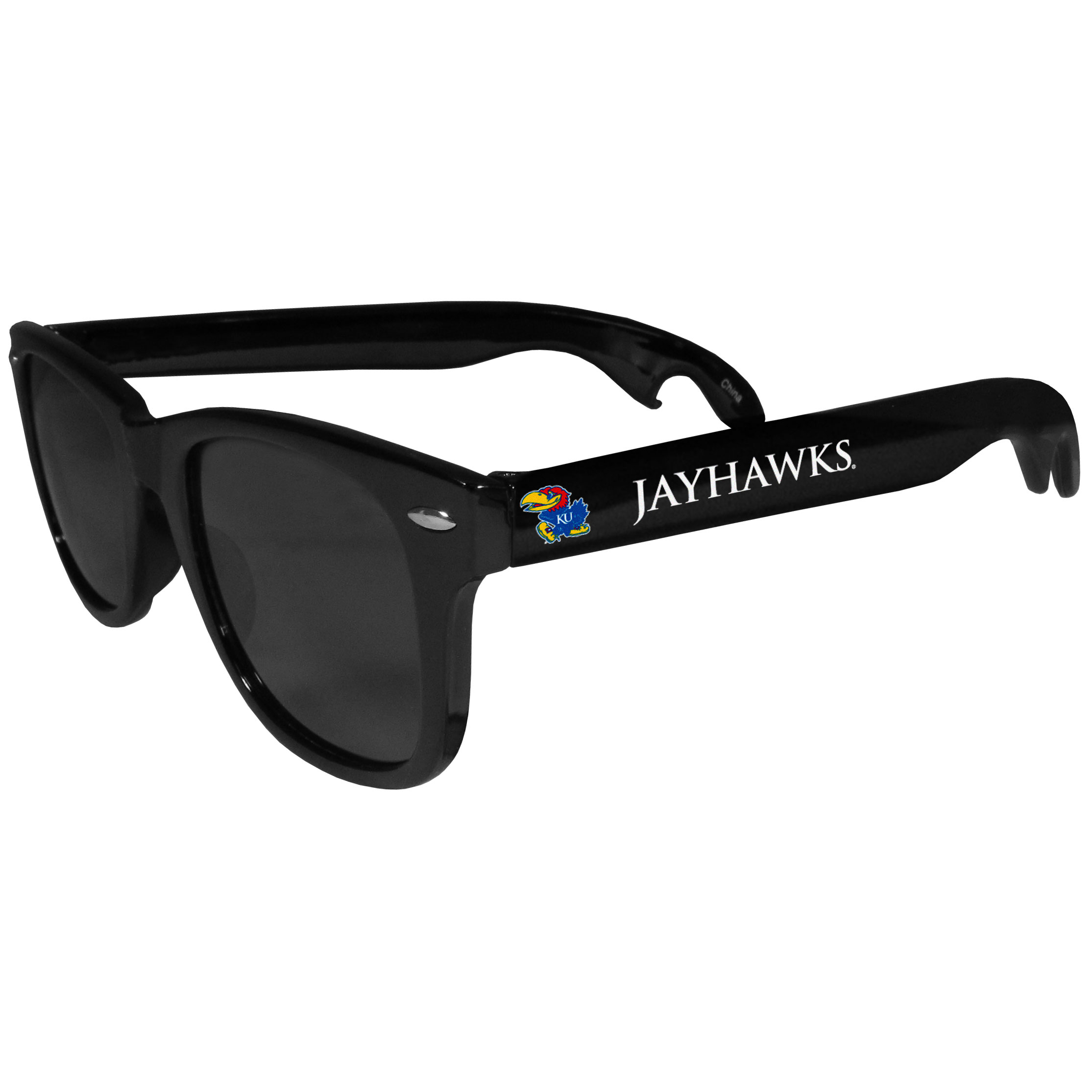 Kansas Jayhawks Beachfarer Bottle Opener Sunglasses - Seriously, these sunglasses open bottles! Keep the party going with these amazing Kansas Jayhawks bottle opener sunglasses. The stylish retro frames feature team designs on the arms and functional bottle openers on the end of the arms. Whether you are at the beach or having a backyard BBQ on game day, these shades will keep your eyes protected with 100% UVA/UVB protection and keep you hydrated with the handy bottle opener arms.
