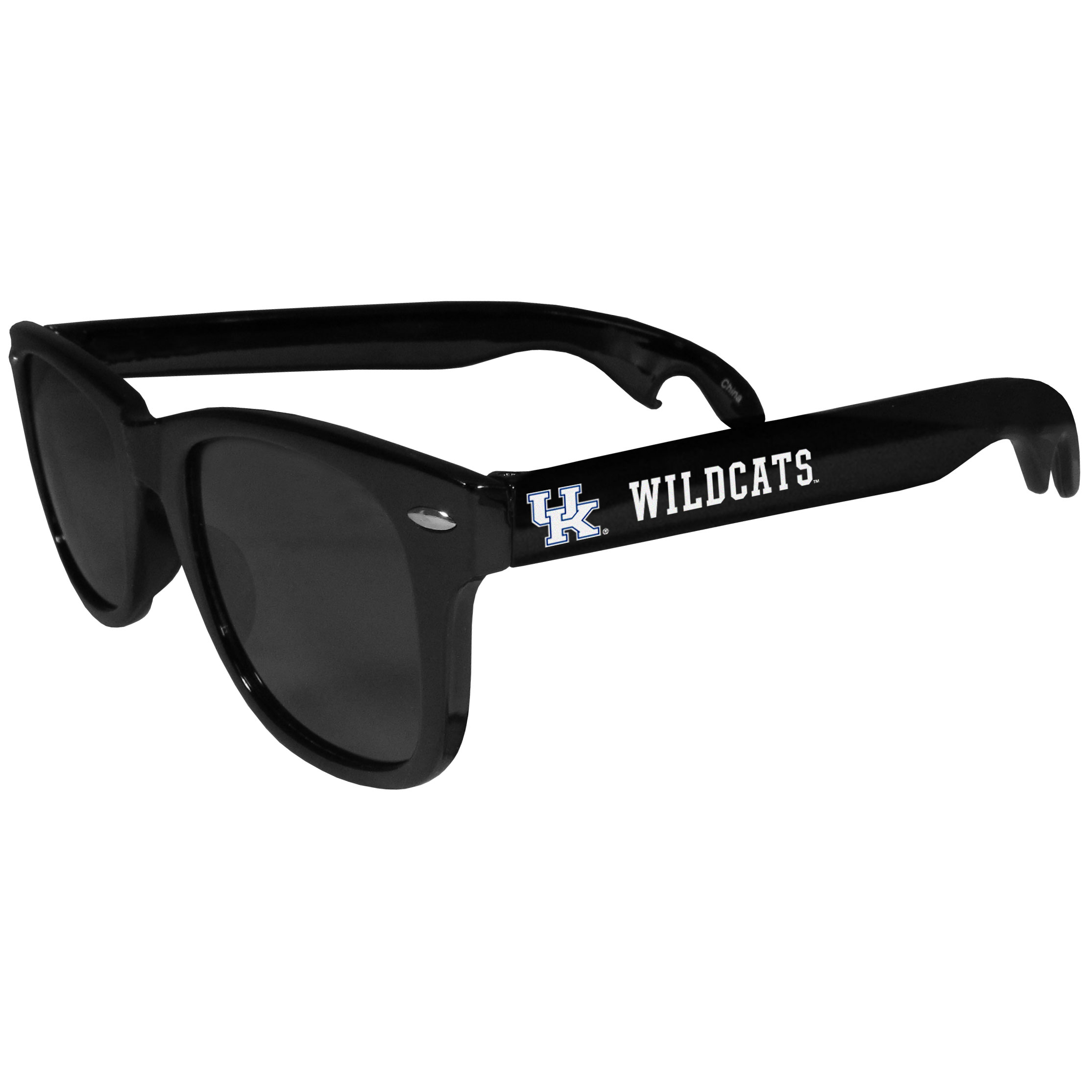 Kentucky Wildcats Beachfarer Bottle Opener Sunglasses - Seriously, these sunglasses open bottles! Keep the party going with these amazing Kentucky Wildcats bottle opener sunglasses. The stylish retro frames feature team designs on the arms and functional bottle openers on the end of the arms. Whether you are at the beach or having a backyard BBQ on game day, these shades will keep your eyes protected with 100% UVA/UVB protection and keep you hydrated with the handy bottle opener arms.