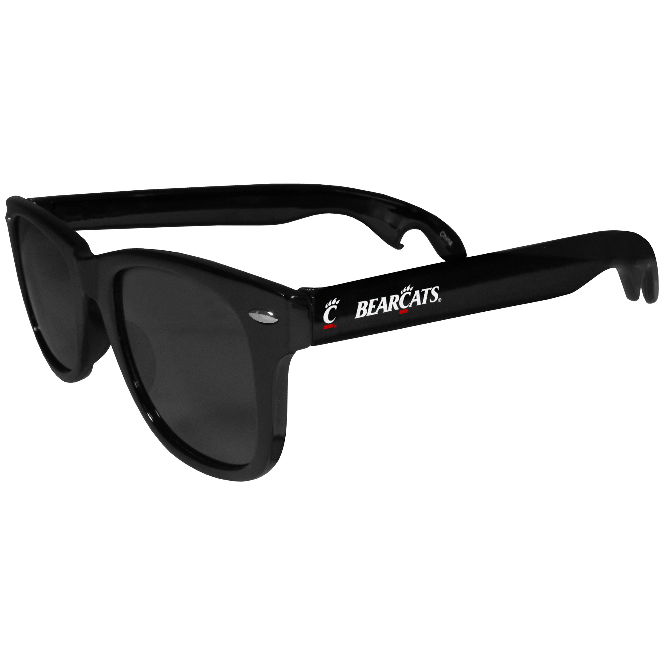 Cincinnati Bearcats Beachfarer Bottle Opener Sunglasses - Seriously, these sunglasses open bottles! Keep the party going with these amazing Cincinnati Bearcats bottle opener sunglasses. The stylish retro frames feature team designs on the arms and functional bottle openers on the end of the arms. Whether you are at the beach or having a backyard BBQ on game day, these shades will keep your eyes protected with 100% UVA/UVB protection and keep you hydrated with the handy bottle opener arms.