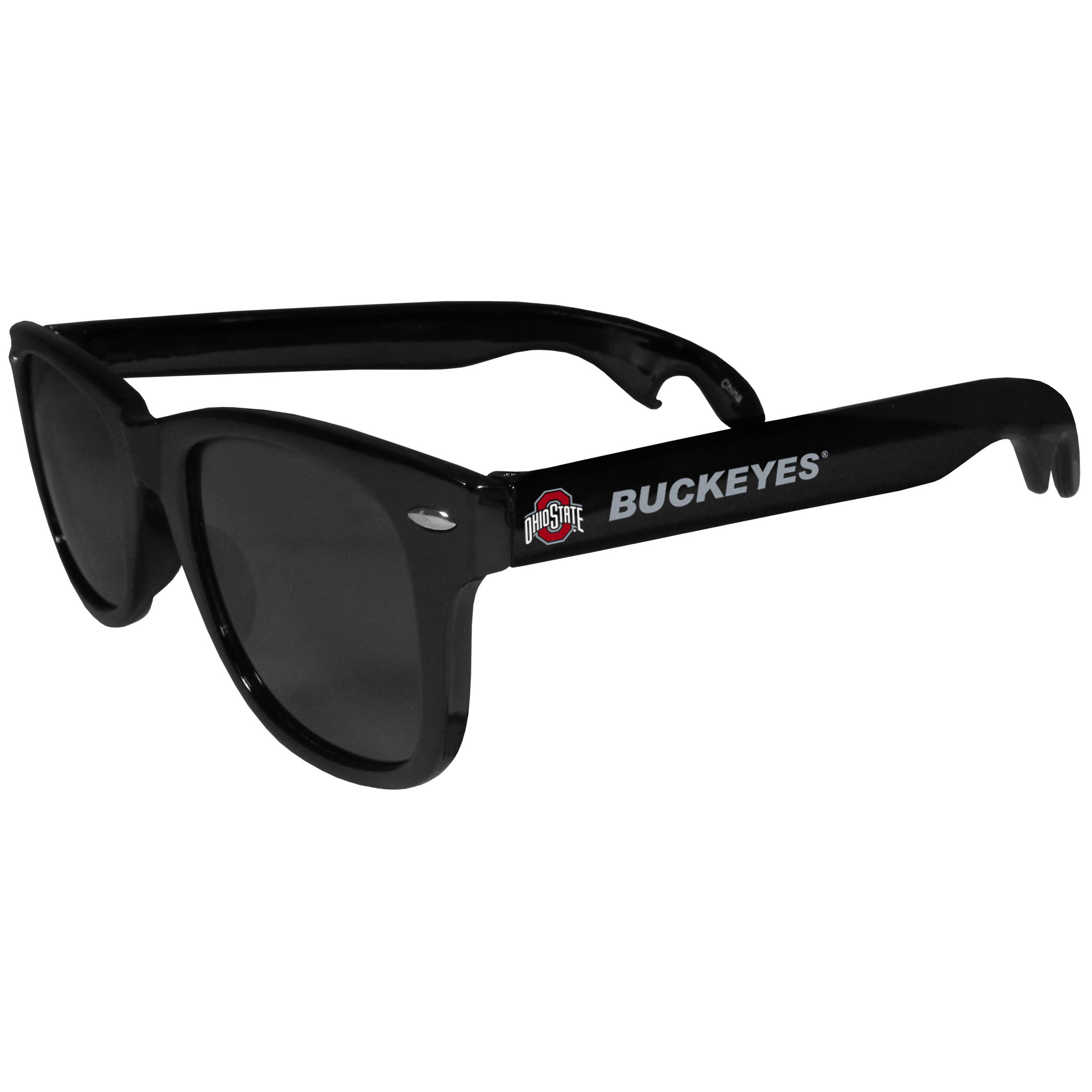 Ohio St. Buckeyes Beachfarer Bottle Opener Sunglasses - Seriously, these sunglasses open bottles! Keep the party going with these amazing Ohio St. Buckeyes bottle opener sunglasses. The stylish retro frames feature team designs on the arms and functional bottle openers on the end of the arms. Whether you are at the beach or having a backyard BBQ on game day, these shades will keep your eyes protected with 100% UVA/UVB protection and keep you hydrated with the handy bottle opener arms.