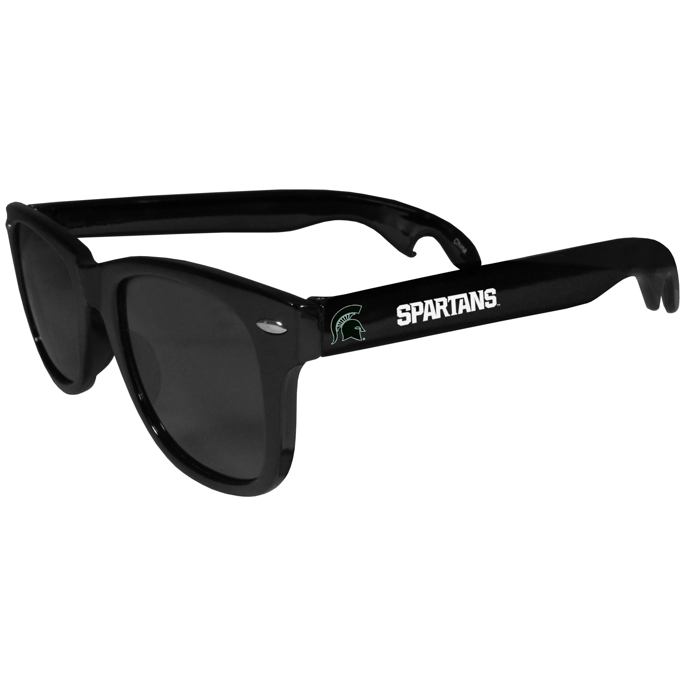 Michigan St. Spartans Beachfarer Bottle Opener Sunglasses - Seriously, these sunglasses open bottles! Keep the party going with these amazing Michigan St. Spartans bottle opener sunglasses. The stylish retro frames feature team designs on the arms and functional bottle openers on the end of the arms. Whether you are at the beach or having a backyard BBQ on game day, these shades will keep your eyes protected with 100% UVA/UVB protection and keep you hydrated with the handy bottle opener arms.