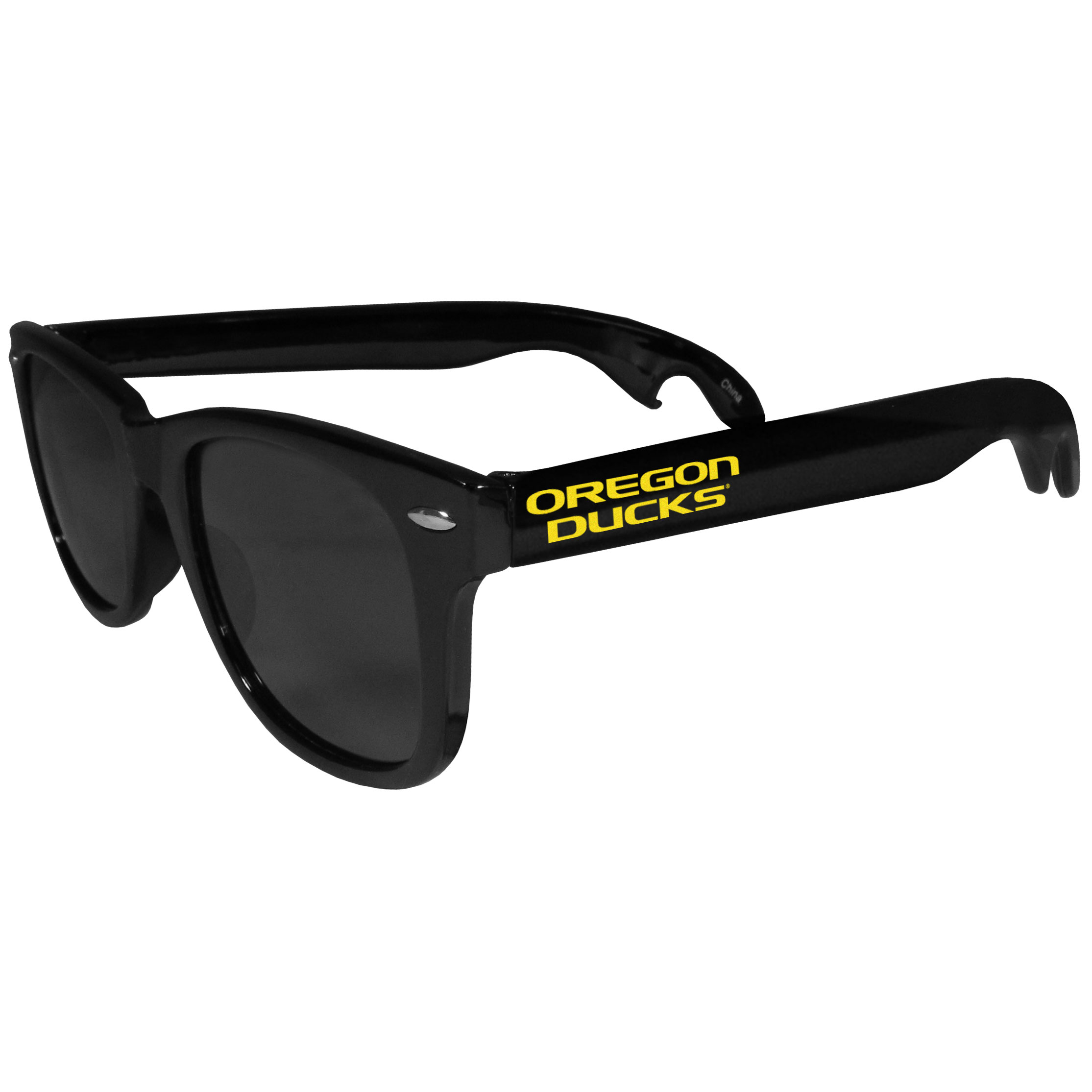 Oregon Ducks Beachfarer Bottle Opener Sunglasses - Seriously, these sunglasses open bottles! Keep the party going with these amazing Oregon Ducks bottle opener sunglasses. The stylish retro frames feature team designs on the arms and functional bottle openers on the end of the arms. Whether you are at the beach or having a backyard BBQ on game day, these shades will keep your eyes protected with 100% UVA/UVB protection and keep you hydrated with the handy bottle opener arms.