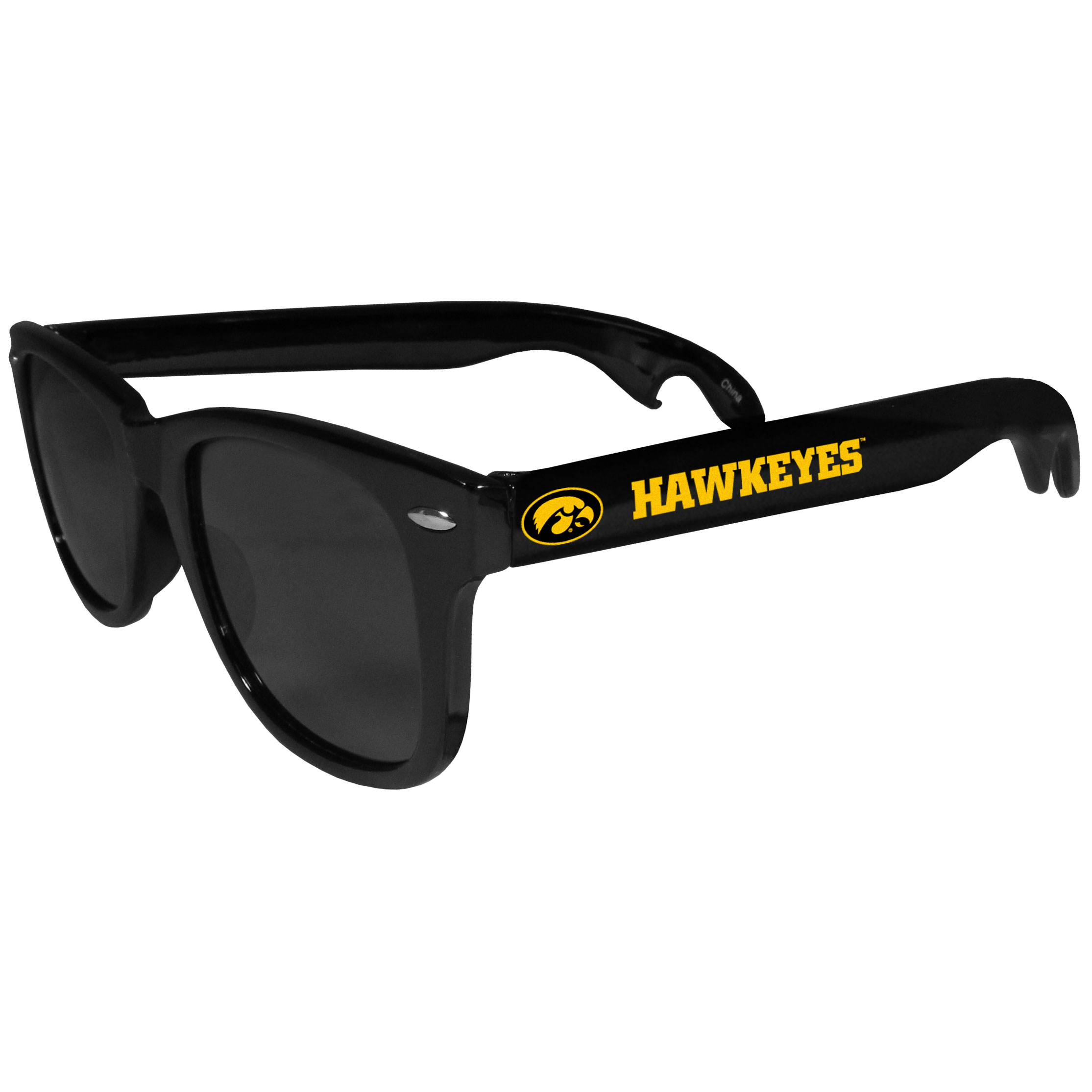 Iowa Hawkeyes Beachfarer Bottle Opener Sunglasses - Seriously, these sunglasses open bottles! Keep the party going with these amazing Iowa Hawkeyes bottle opener sunglasses. The stylish retro frames feature team designs on the arms and functional bottle openers on the end of the arms. Whether you are at the beach or having a backyard BBQ on game day, these shades will keep your eyes protected with 100% UVA/UVB protection and keep you hydrated with the handy bottle opener arms.