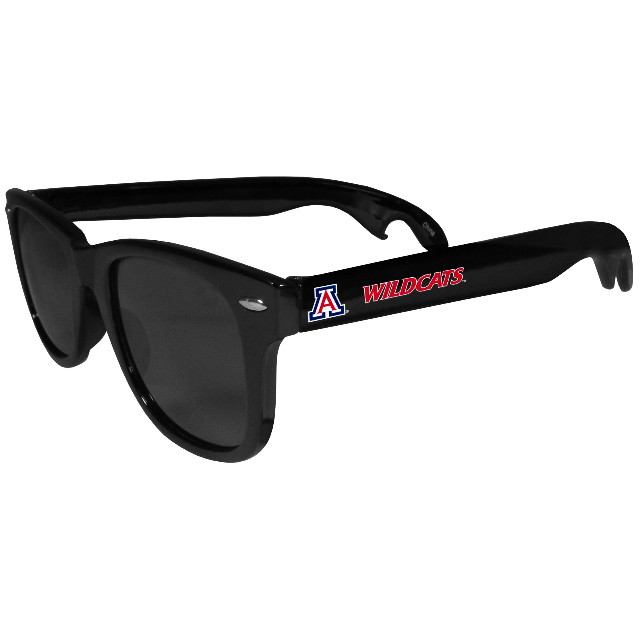 Arizona Wildcats Beachfarer Bottle Opener Sunglasses - Seriously, these sunglasses open bottles! Keep the party going with these amazing Arizona Wildcats bottle opener sunglasses. The stylish retro frames feature team designs on the arms and functional bottle openers on the end of the arms. Whether you are at the beach or having a backyard BBQ on game day, these shades will keep your eyes protected with 100% UVA/UVB protection and keep you hydrated with the handy bottle opener arms.