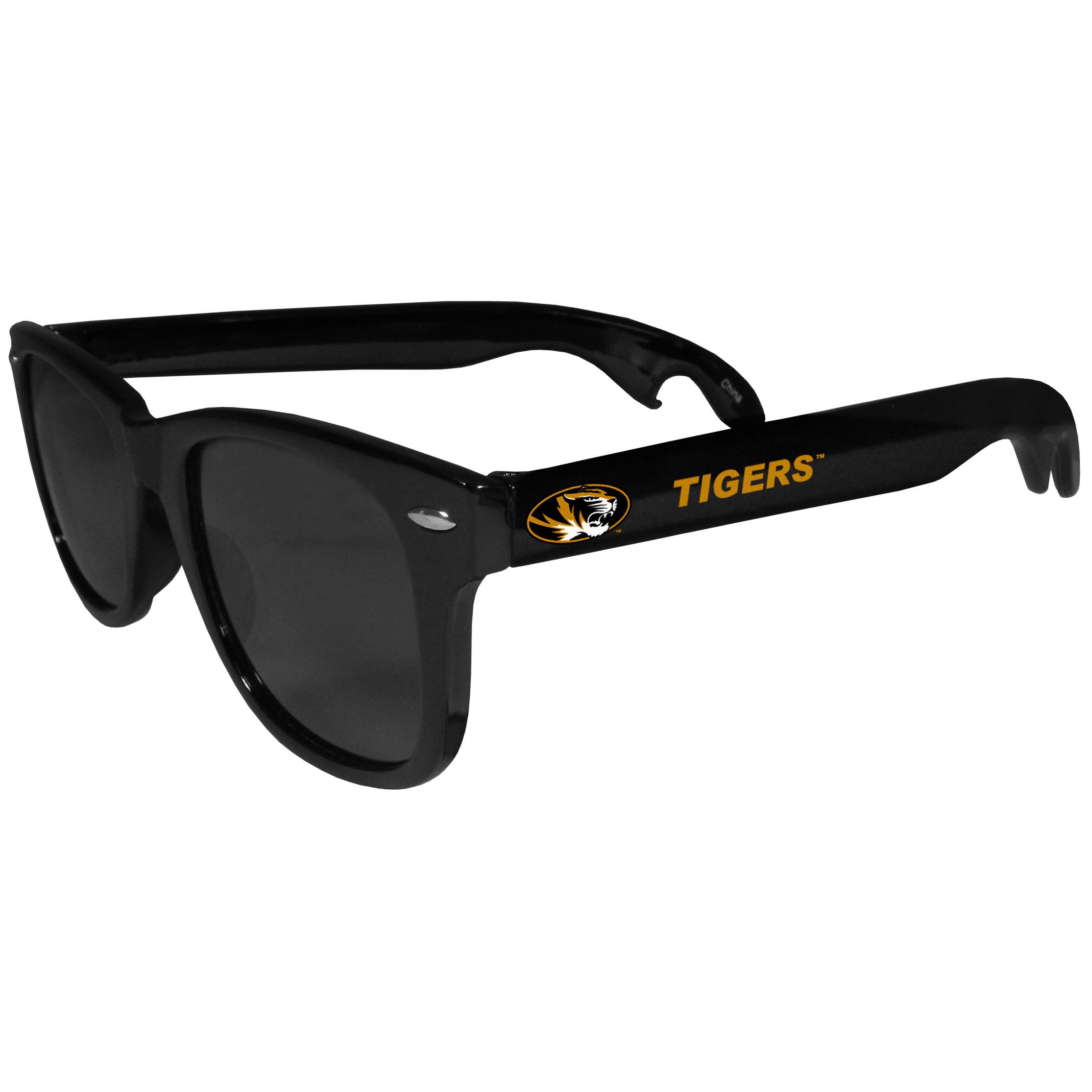 Missouri Tigers Beachfarer Bottle Opener Sunglasses - Seriously, these sunglasses open bottles! Keep the party going with these amazing Missouri Tigers bottle opener sunglasses. The stylish retro frames feature team designs on the arms and functional bottle openers on the end of the arms. Whether you are at the beach or having a backyard BBQ on game day, these shades will keep your eyes protected with 100% UVA/UVB protection and keep you hydrated with the handy bottle opener arms.