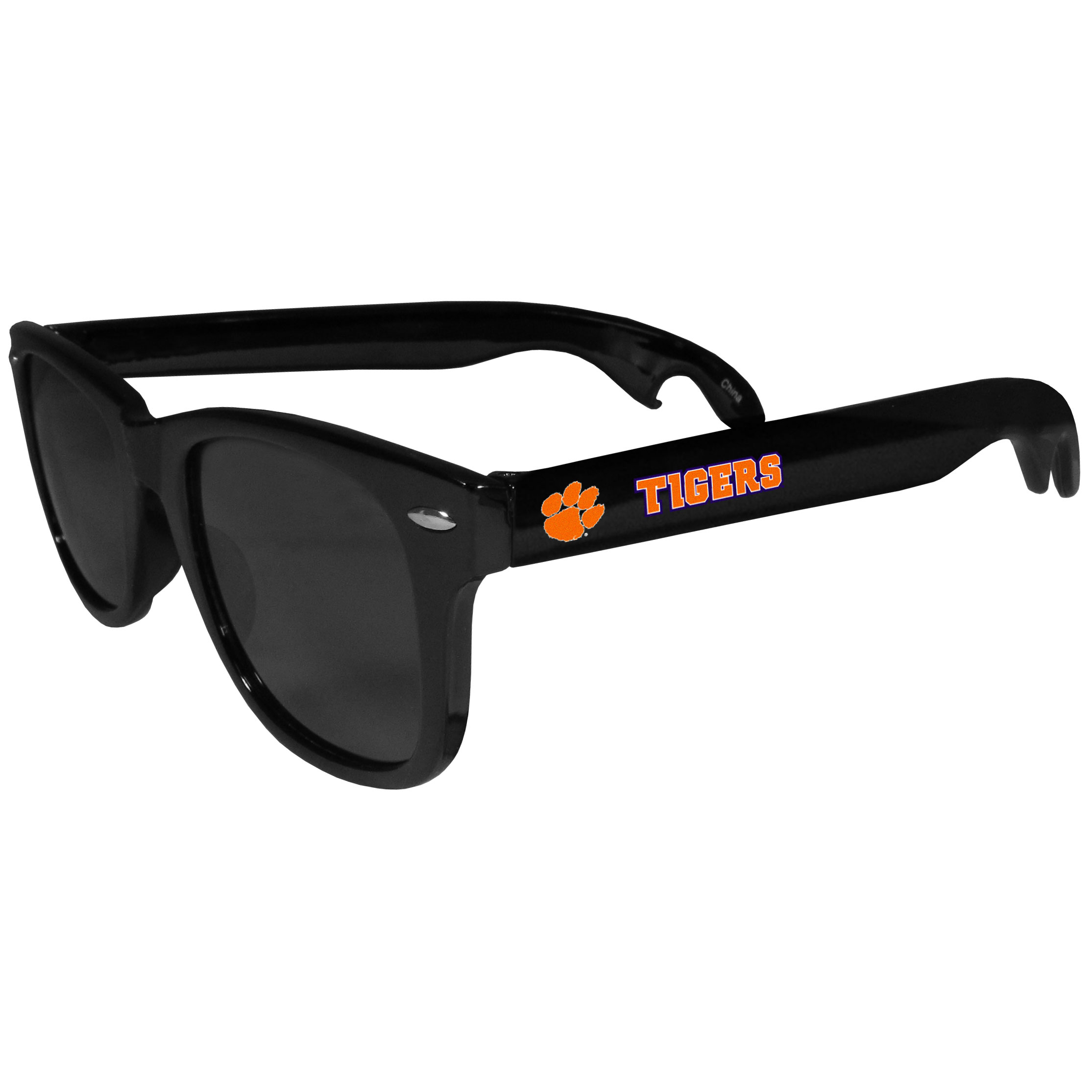 Clemson Tigers Beachfarer Bottle Opener Sunglasses - Seriously, these sunglasses open bottles! Keep the party going with these amazing Clemson Tigers bottle opener sunglasses. The stylish retro frames feature team designs on the arms and functional bottle openers on the end of the arms. Whether you are at the beach or having a backyard BBQ on game day, these shades will keep your eyes protected with 100% UVA/UVB protection and keep you hydrated with the handy bottle opener arms.