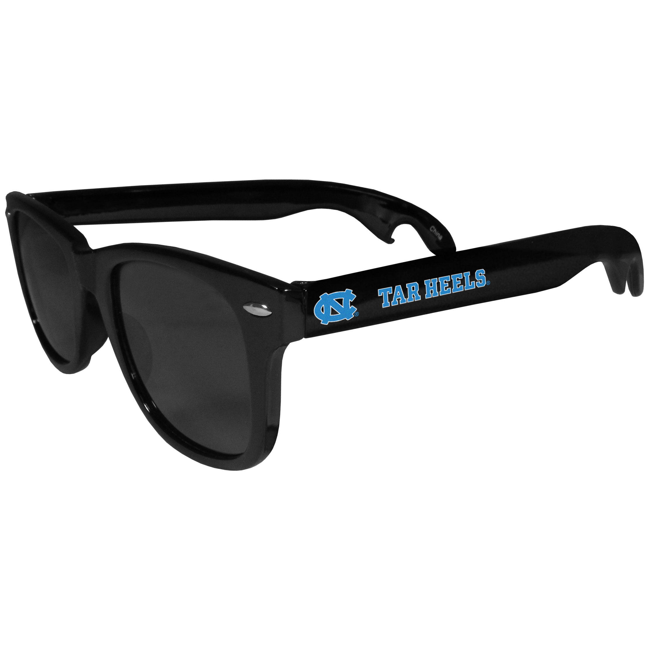 N. Carolina Tar Heels Beachfarer Bottle Opener Sunglasses - Seriously, these sunglasses open bottles! Keep the party going with these amazing N. Carolina Tar Heels bottle opener sunglasses. The stylish retro frames feature team designs on the arms and functional bottle openers on the end of the arms. Whether you are at the beach or having a backyard BBQ on game day, these shades will keep your eyes protected with 100% UVA/UVB protection and keep you hydrated with the handy bottle opener arms.