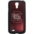 S. Carolina Gamecocks Etched Samsung Galaxy S4 Case - This ultra cool hard shell snap on case provides great protection for the phone while the soft rubber finish adds to your grip to help prevent dropping the phone. This stylish case is finished off with a brushed metal team plate with laser etched S. Carolina Gamecocks team logo. Thank you for shopping with CrazedOutSports.com