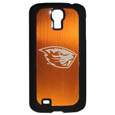 Oregon St. Beavers Etched Samsung Galaxy S4 Case - This ultra cool hard shell snap on case provides great protection for the phone while the soft rubber finish adds to your grip to help prevent dropping the phone. This stylish case is finished off with a brushed metal team plate with laser etched team logo. Thank you for shopping with CrazedOutSports.com