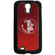 Florida St. Seminoles Etched Samsung Galaxy S4 Case - This ultra cool Florida State Seminoles hard shell snap on case provides great protection for the phone while the soft rubber finish adds to your grip to help prevent dropping the phone. This stylish case is finished off with a brushed metal Florida State Seminoles team plate with laser etched team logo. Thank you for shopping with CrazedOutSports.com