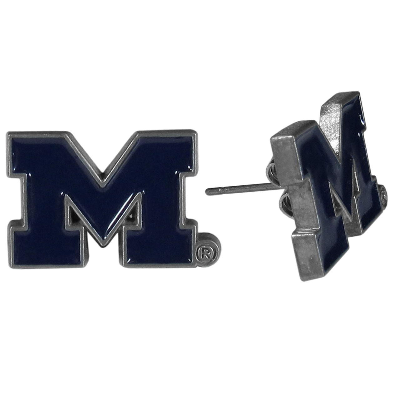 Michigan Wolverines Stud Earrings - Big and flashy isn't for every woman. These 1/2 inch stud earrings offer a small option that still shows she is a true Michigan Wolverines fan. The earrings have hypoallergenic posts.