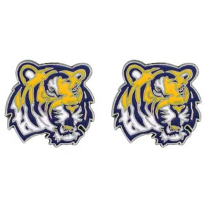 LSU Tigers Stud Earrings - These LSU Tigers stud earrings are sculpted and enameled. LSU Tigers Stud Earrings are the perfect gift for that LSU Tigers fan ! Check out our entire line of  LSU Tigers jewelry! Thank you for shopping with CrazedOutSports.com