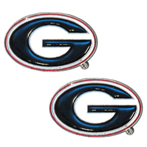 Georgia Bulldogs Earrings - These Georgia Bulldogs college studded earrings are sculpted and enameled. Check out our entire line of  collegiate jewelry! Thank you for shopping with CrazedOutSports.com