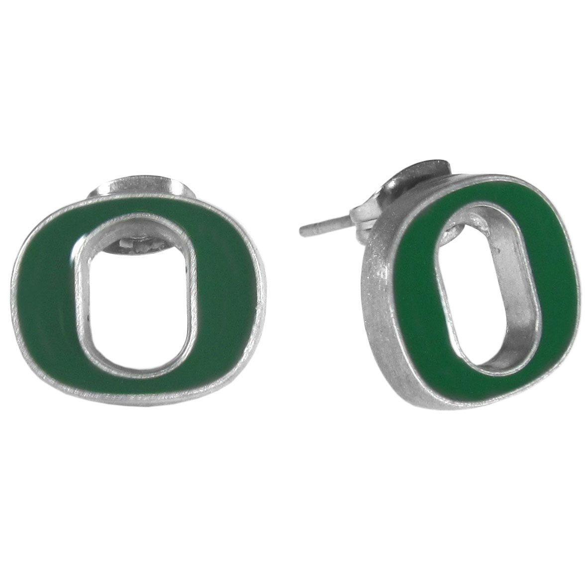 Oregon Ducks Stud Earrings - Big and flashy isn't for every woman. These 1/2 inch stud earrings offer a small option that still shows she is a true Oregon Ducks fan. The earrings have hypoallergenic posts.