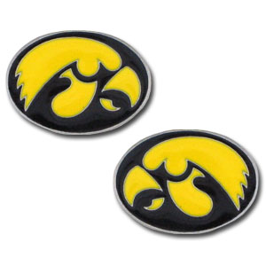 Iowa Hawkeyes Earrings - These Iowa Hawkeyes college studded earrings are sculpted and enameled. Check out our entire line of  collegiate jewelry! Thank you for shopping with CrazedOutSports.com