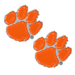 Clemson Tigers Earrings - Our  college studded earrings are sculpted and enameled. Check out our entire line of  collegiate jewelry! Thank you for shopping with CrazedOutSports.com