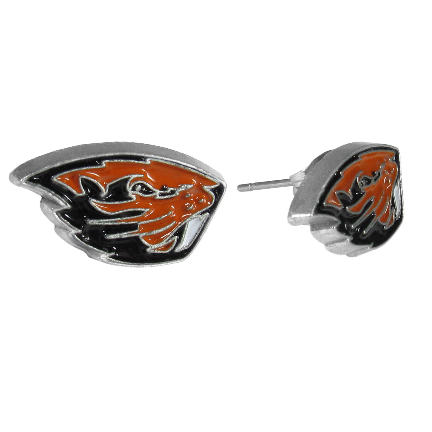 Oregon St. Beavers Stud Earrings - Big and flashy isn't for every woman. These 1/2 inch stud earrings offer a small option that still shows she is a true Oregon St. Beavers fan. The earrings have hypoallergenic posts.