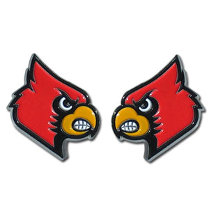 Louisville Cardinals Stud Earrings - These Louisville Cardinals college studded earrings are sculpted and enameled. Check out our entire line of  collegiate jewelry! Thank you for shopping with CrazedOutSports.com