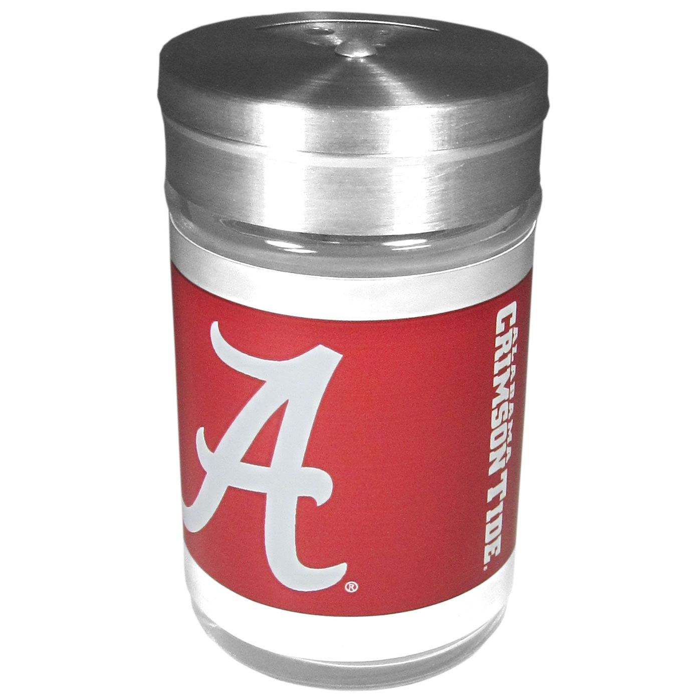 Alabama Crimson Tide Tailgater Season Shakers - Spice it up with our Alabama Crimson Tide tailgater season shakers! This compact shaker is 2 inch tall with a twist top that closes off the holes at the top making it perfect for travel preventing those messy spills. The shaker has wide holes perfect for keeping your pepper seeds or cheese toppings. The bright team graphics will make you the envy of the other fans while you are grilling up your tailgating goodies.