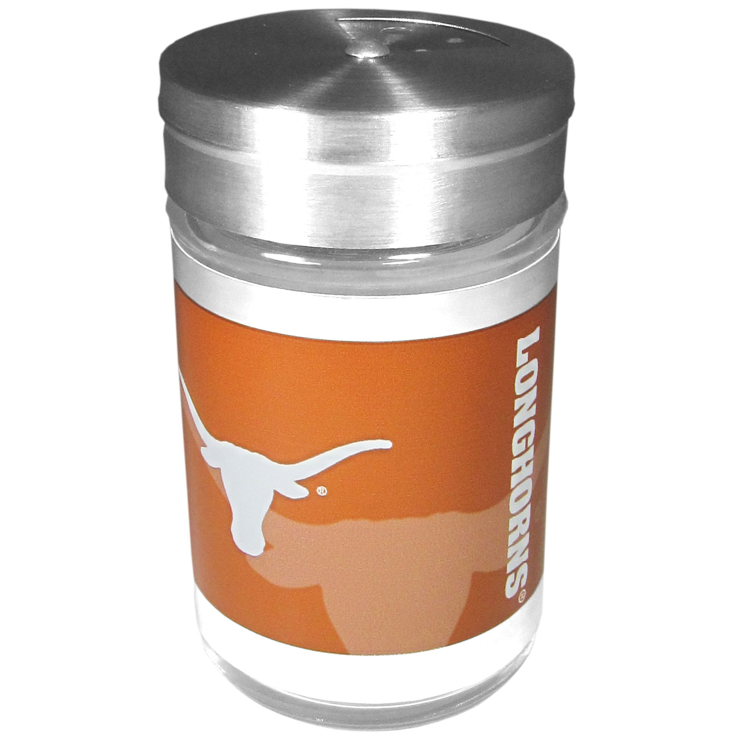 Texas Longhorns Tailgater Season Shakers - Spice it up with our Texas Longhorns tailgater season shakers! This compact shaker is 2 inch tall with a twist top that closes off the holes at the top making it perfect for travel preventing those messy spills. The shaker has wide holes perfect for keeping your pepper seeds or cheese toppings. The bright team graphics will make you the envy of the other fans while you are grilling up your tailgating goodies.