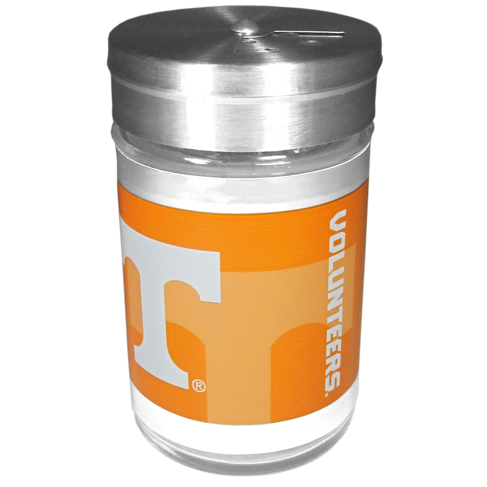 Tennessee Volunteers Tailgater Season Shakers - Spice it up with our Tennessee Volunteers tailgater season shakers! This compact shaker is 2 inch tall with a twist top that closes off the holes at the top making it perfect for travel preventing those messy spills. The shaker has wide holes perfect for keeping your pepper seeds or cheese toppings. The bright team graphics will make you the envy of the other fans while you are grilling up your tailgating goodies.
