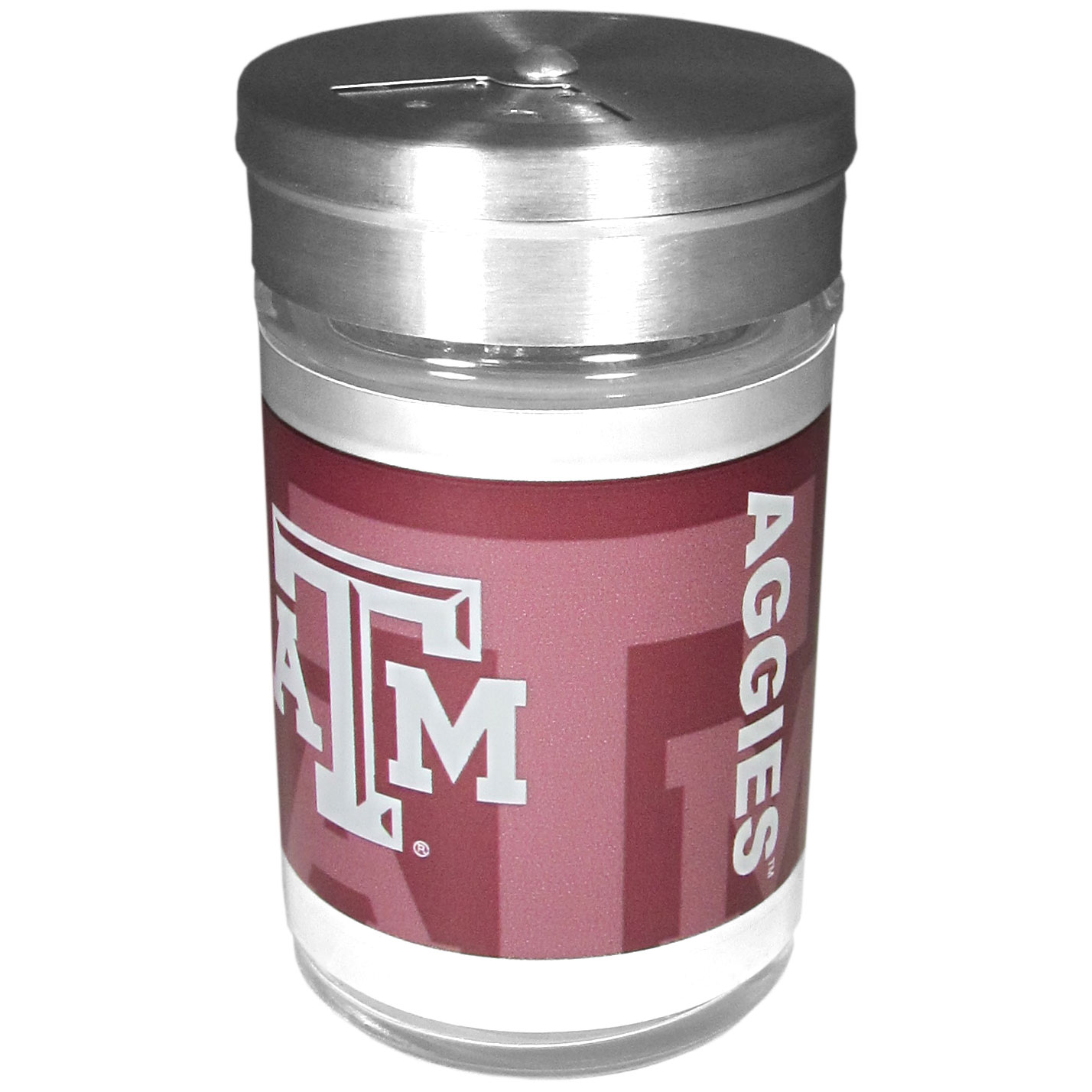 Texas A and M Aggies Tailgater Season Shakers - Spice it up with our Texas A & M Aggies tailgater season shakers! This compact shaker is 2 inch tall with a twist top that closes off the holes at the top making it perfect for travel preventing those messy spills. The shaker has wide holes perfect for keeping your pepper seeds or cheese toppings. The bright team graphics will make you the envy of the other fans while you are grilling up your tailgating goodies.