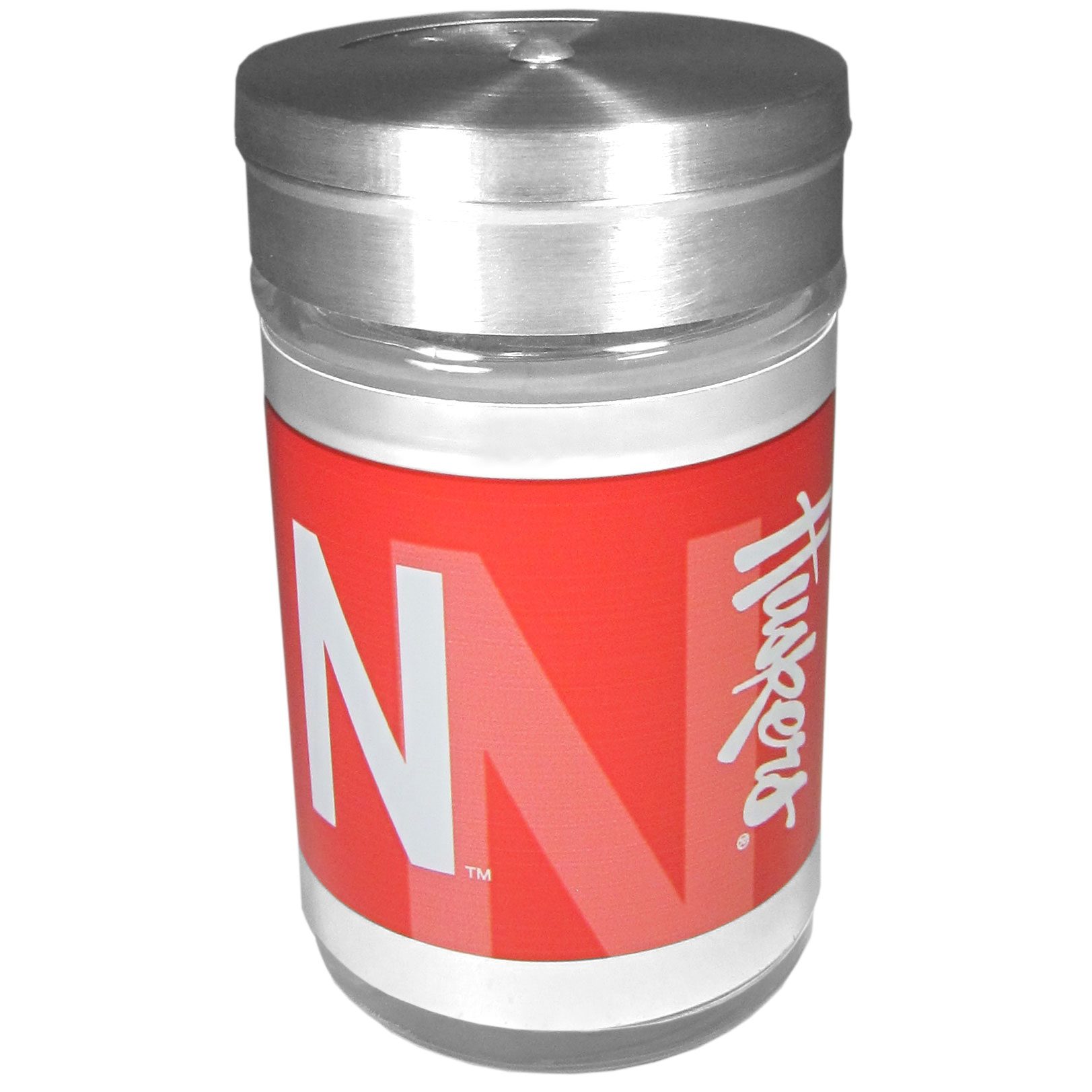 Nebraska Cornhuskers Tailgater Season Shakers - Spice it up with our Nebraska Cornhuskers tailgater season shakers! This compact shaker is 2 inch tall with a twist top that closes off the holes at the top making it perfect for travel preventing those messy spills. The shaker has wide holes perfect for keeping your pepper seeds or cheese toppings. The bright team graphics will make you the envy of the other fans while you are grilling up your tailgating goodies.