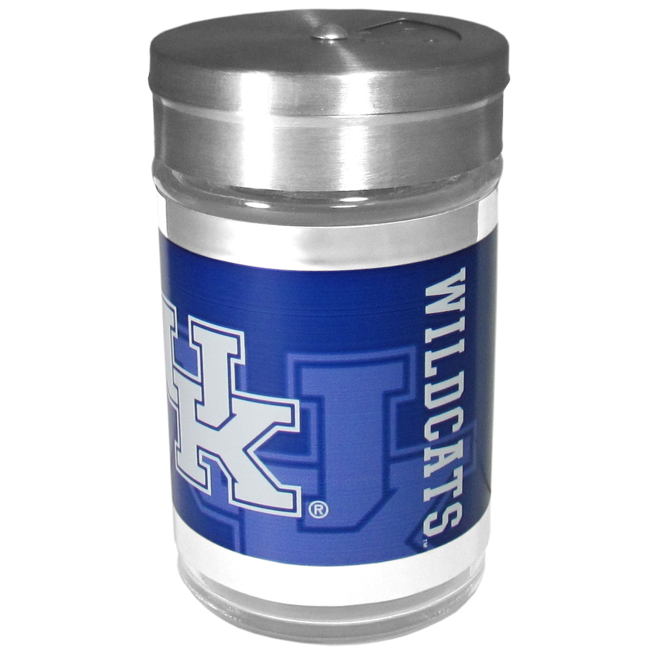 Kentucky Wildcats Tailgater Season Shakers - Spice it up with our Kentucky Wildcats tailgater season shakers! This compact shaker is 2 inch tall with a twist top that closes off the holes at the top making it perfect for travel preventing those messy spills. The shaker has wide holes perfect for keeping your pepper seeds or cheese toppings. The bright team graphics will make you the envy of the other fans while you are grilling up your tailgating goodies.