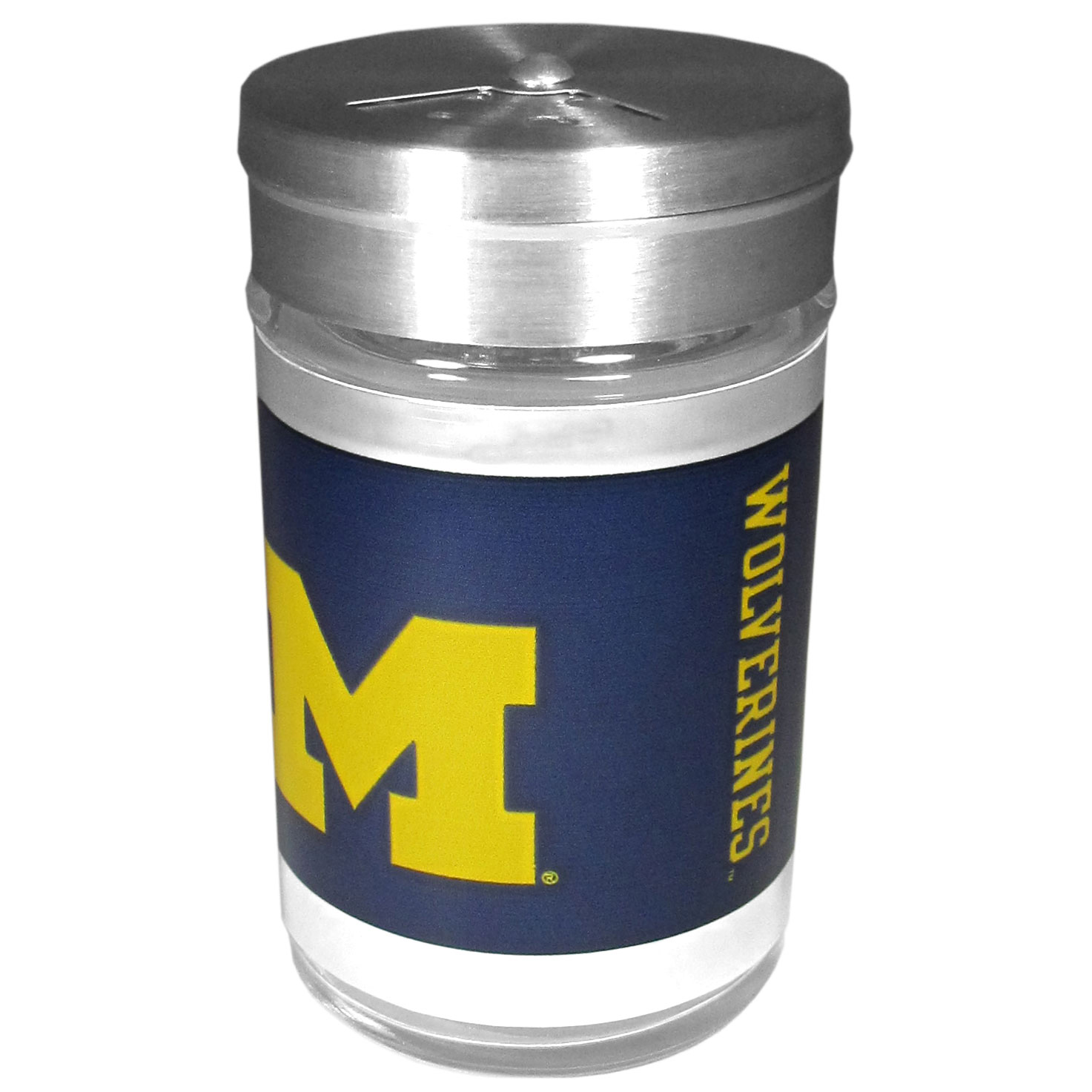Michigan Wolverines Tailgater Season Shakers - Spice it up with our Michigan Wolverines tailgater season shakers! This compact shaker is 2 inch tall with a twist top that closes off the holes at the top making it perfect for travel preventing those messy spills. The shaker has wide holes perfect for keeping your pepper seeds or cheese toppings. The bright team graphics will make you the envy of the other fans while you are grilling up your tailgating goodies.