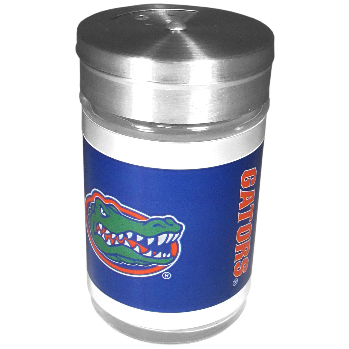 Florida Gators Tailgater Season Shakers - Spice it up with our Florida Gators tailgater season shakers! This compact shaker is 2 inch tall with a twist top that closes off the holes at the top making it perfect for travel preventing those messy spills. The shaker has wide holes perfect for keeping your pepper seeds or cheese toppings. The bright team graphics will make you the envy of the other fans while you are grilling up your tailgating goodies.