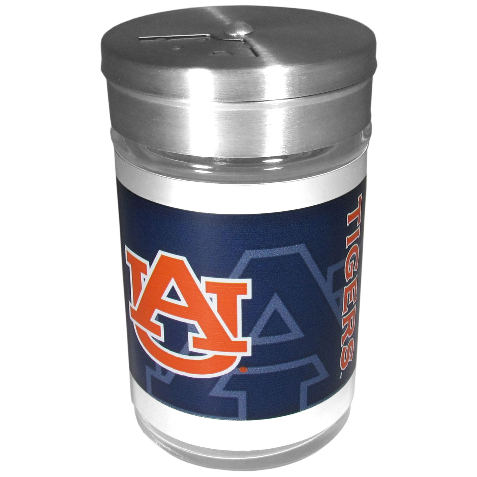 Auburn Tigers Tailgater Season Shakers - Spice it up with our Auburn Tigers tailgater season shakers! This compact shaker is 2 inch tall with a twist top that closes off the holes at the top making it perfect for travel preventing those messy spills. The shaker has wide holes perfect for keeping your pepper seeds or cheese toppings. The bright team graphics will make you the envy of the other fans while you are grilling up your tailgating goodies.