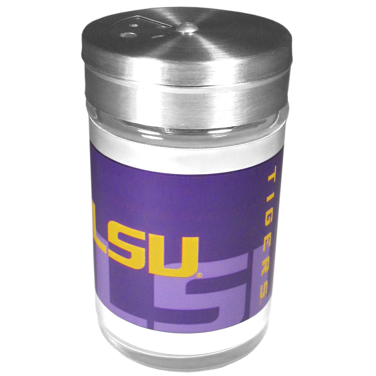 LSU Tigers Tailgater Season Shakers - Spice it up with our LSU Tigers tailgater season shakers! This compact shaker is 2 inch tall with a twist top that closes off the holes at the top making it perfect for travel preventing those messy spills. The shaker has wide holes perfect for keeping your pepper seeds or cheese toppings. The bright team graphics will make you the envy of the other fans while you are grilling up your tailgating goodies.