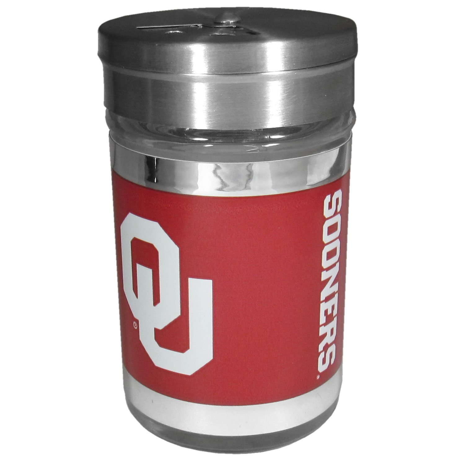 Oklahoma Sooners Tailgater Season Shakers - Spice it up with our Oklahoma Sooners tailgater season shakers! This compact shaker is 2 inch tall with a twist top that closes off the holes at the top making it perfect for travel preventing those messy spills. The shaker has wide holes perfect for keeping your pepper seeds or cheese toppings. The bright team graphics will make you the envy of the other fans while you are grilling up your tailgating goodies.