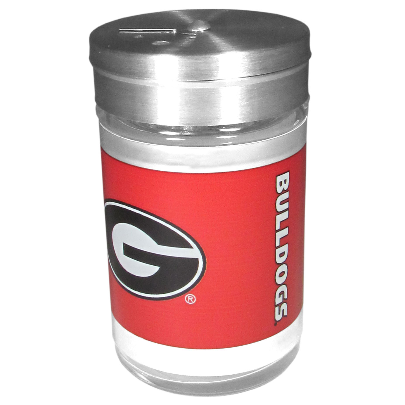 Georgia Bulldogs Tailgater Season Shakers - Spice it up with our Georgia Bulldogs tailgater season shakers! This compact shaker is 2 inch tall with a twist top that closes off the holes at the top making it perfect for travel preventing those messy spills. The shaker has wide holes perfect for keeping your pepper seeds or cheese toppings. The bright team graphics will make you the envy of the other fans while you are grilling up your tailgating goodies.