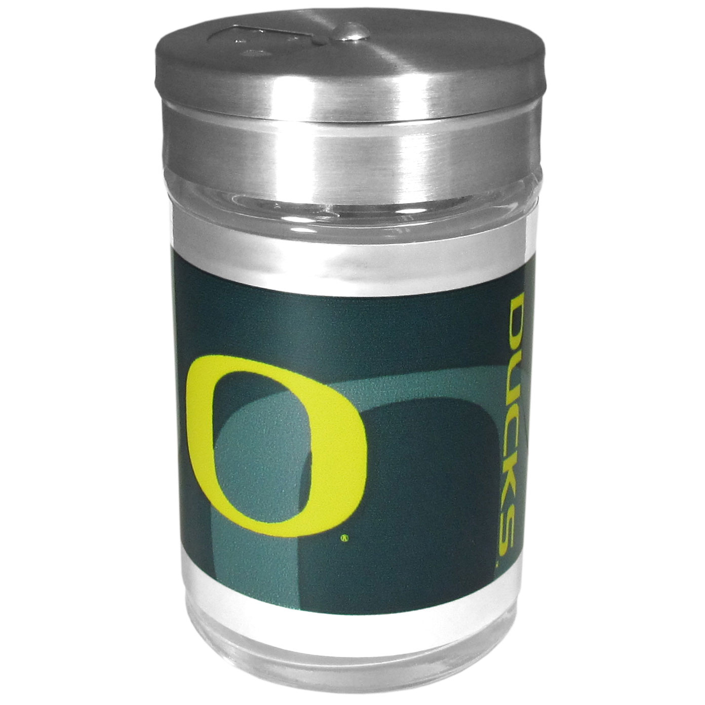 Oregon Ducks Tailgater Season Shakers - Spice it up with our Oregon Ducks tailgater season shakers! This compact shaker is 2 inch tall with a twist top that closes off the holes at the top making it perfect for travel preventing those messy spills. The shaker has wide holes perfect for keeping your pepper seeds or cheese toppings. The bright team graphics will make you the envy of the other fans while you are grilling up your tailgating goodies.