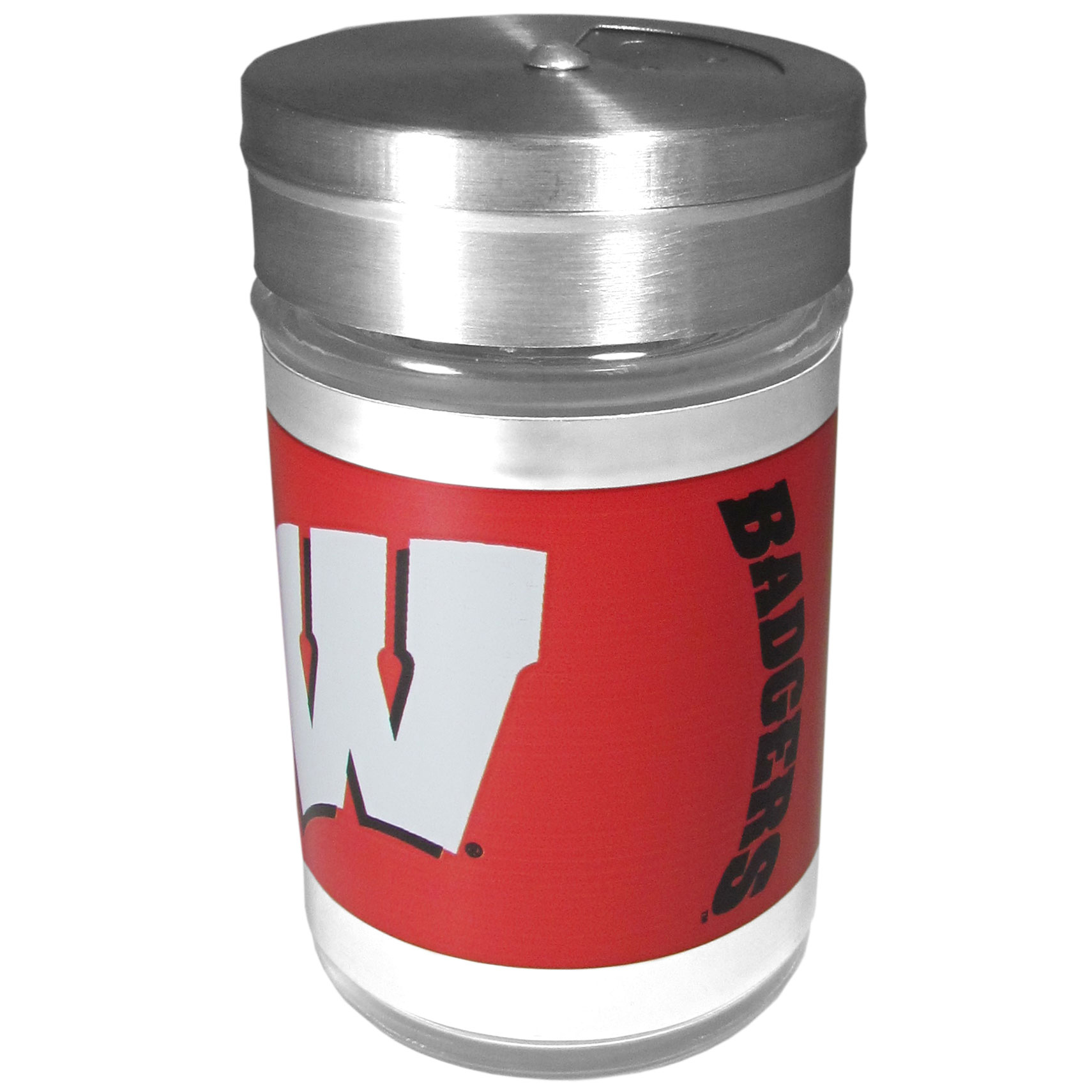 Wisconsin Badgers Tailgater Season Shakers - Spice it up with our Wisconsin Badgers tailgater season shakers! This compact shaker is 2 inch tall with a twist top that closes off the holes at the top making it perfect for travel preventing those messy spills. The shaker has wide holes perfect for keeping your pepper seeds or cheese toppings. The bright team graphics will make you the envy of the other fans while you are grilling up your tailgating goodies.