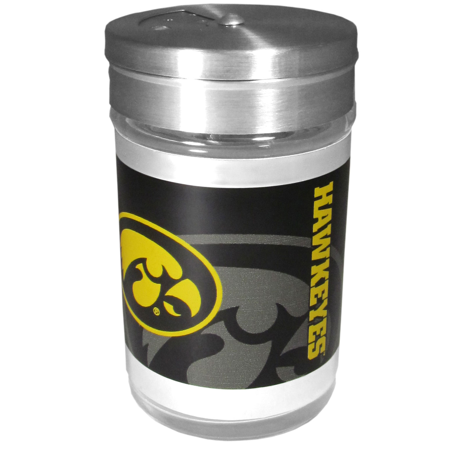 Iowa Hawkeyes Tailgater Season Shakers - Spice it up with our Iowa Hawkeyes tailgater season shakers! This compact shaker is 2 inch tall with a twist top that closes off the holes at the top making it perfect for travel preventing those messy spills. The shaker has wide holes perfect for keeping your pepper seeds or cheese toppings. The bright team graphics will make you the envy of the other fans while you are grilling up your tailgating goodies.