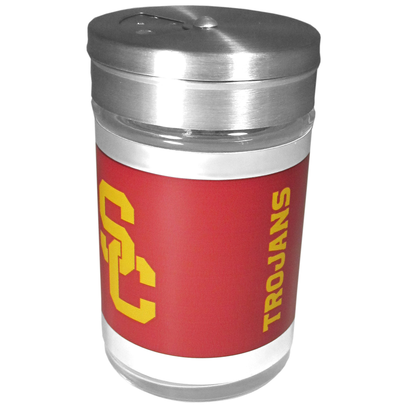 USC Trojans Tailgater Season Shakers - Spice it up with our USC Trojans tailgater season shakers! This compact shaker is 2 inch tall with a twist top that closes off the holes at the top making it perfect for travel preventing those messy spills. The shaker has wide holes perfect for keeping your pepper seeds or cheese toppings. The bright team graphics will make you the envy of the other fans while you are grilling up your tailgating goodies.